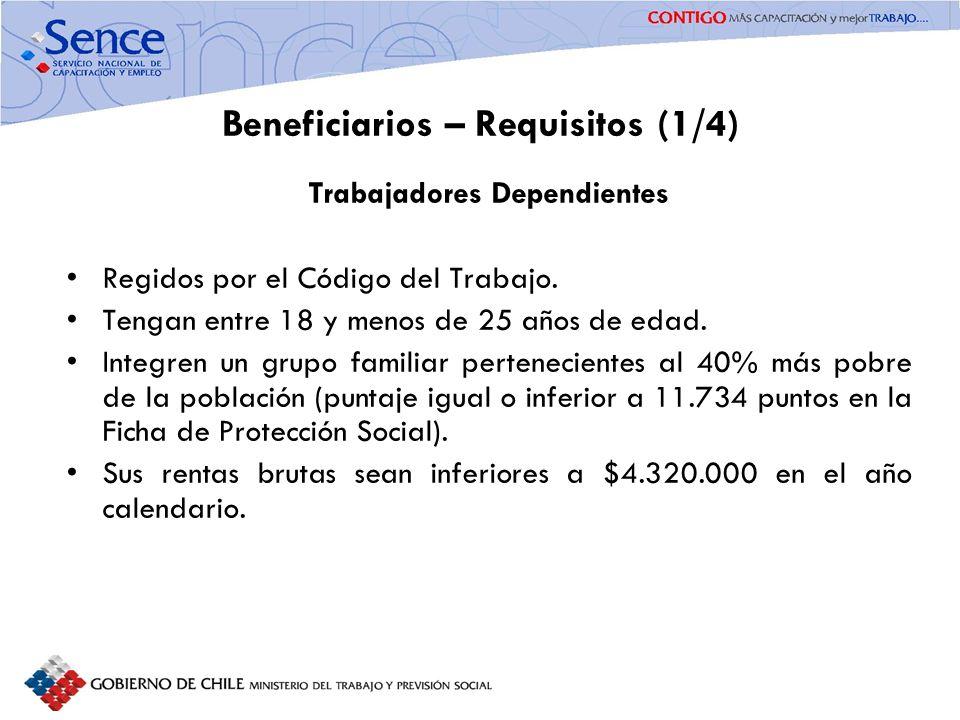 Beneficiarios – Requisitos (1/4)