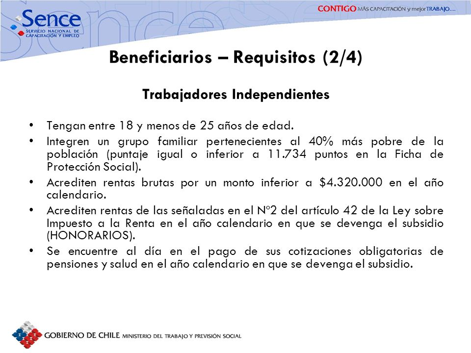 Beneficiarios – Requisitos (2/4)
