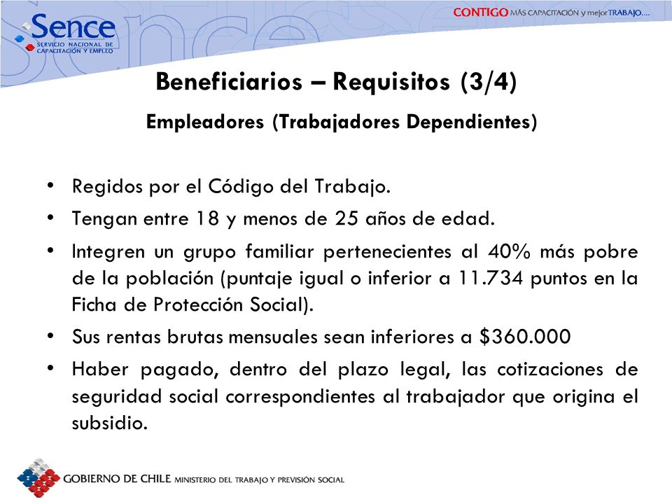 Beneficiarios – Requisitos (3/4)