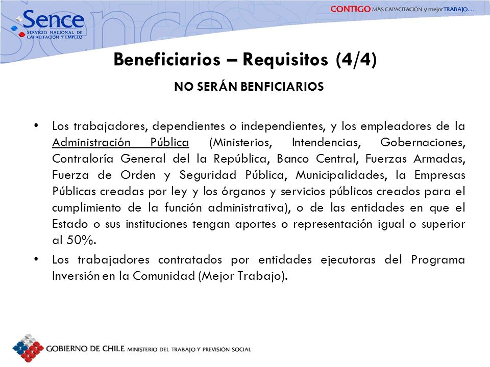 Beneficiarios – Requisitos (4/4)