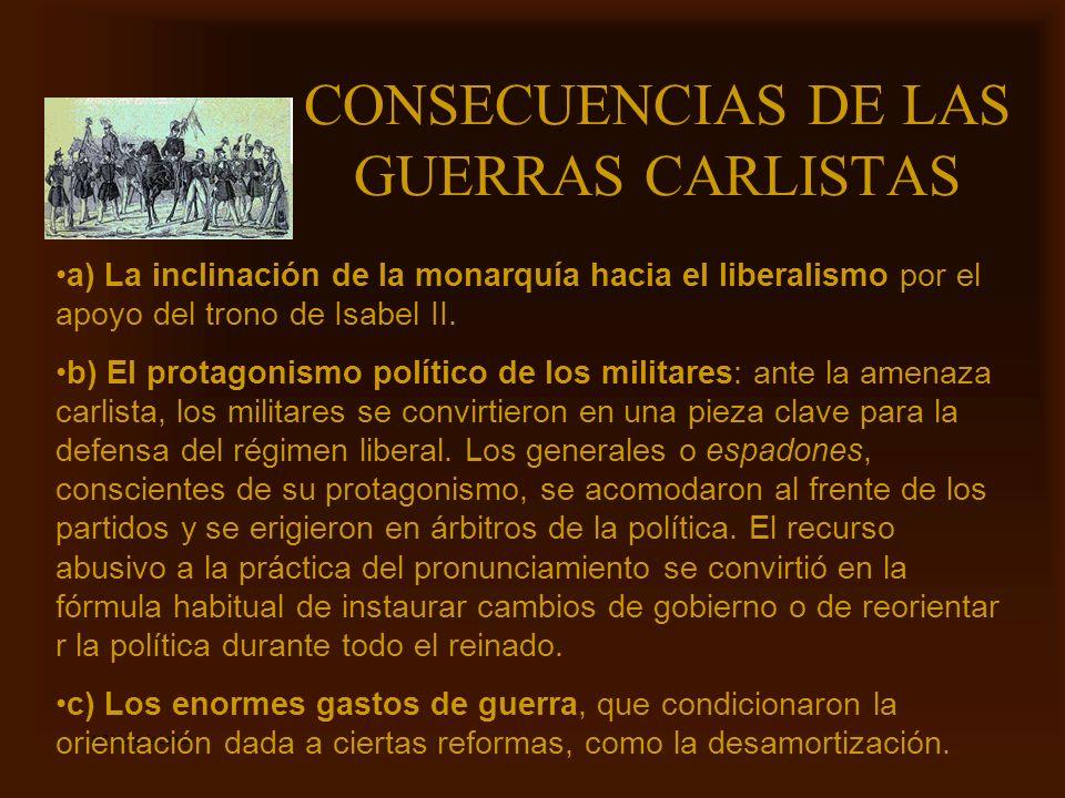 CONSECUENCIAS DE LAS GUERRAS CARLISTAS