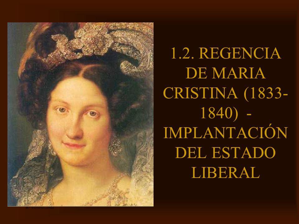 1.2. REGENCIA DE MARIA CRISTINA (1833-1840) -IMPLANTACIÓN DEL ESTADO LIBERAL