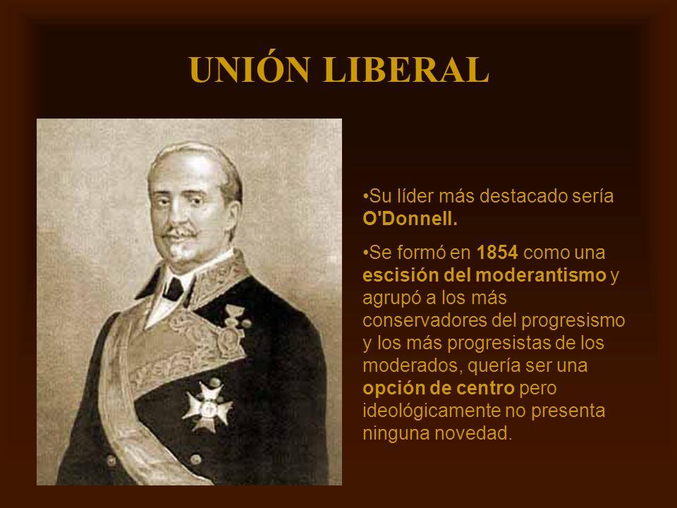 UNIÓN LIBERAL Su líder más destacado sería O Donnell.