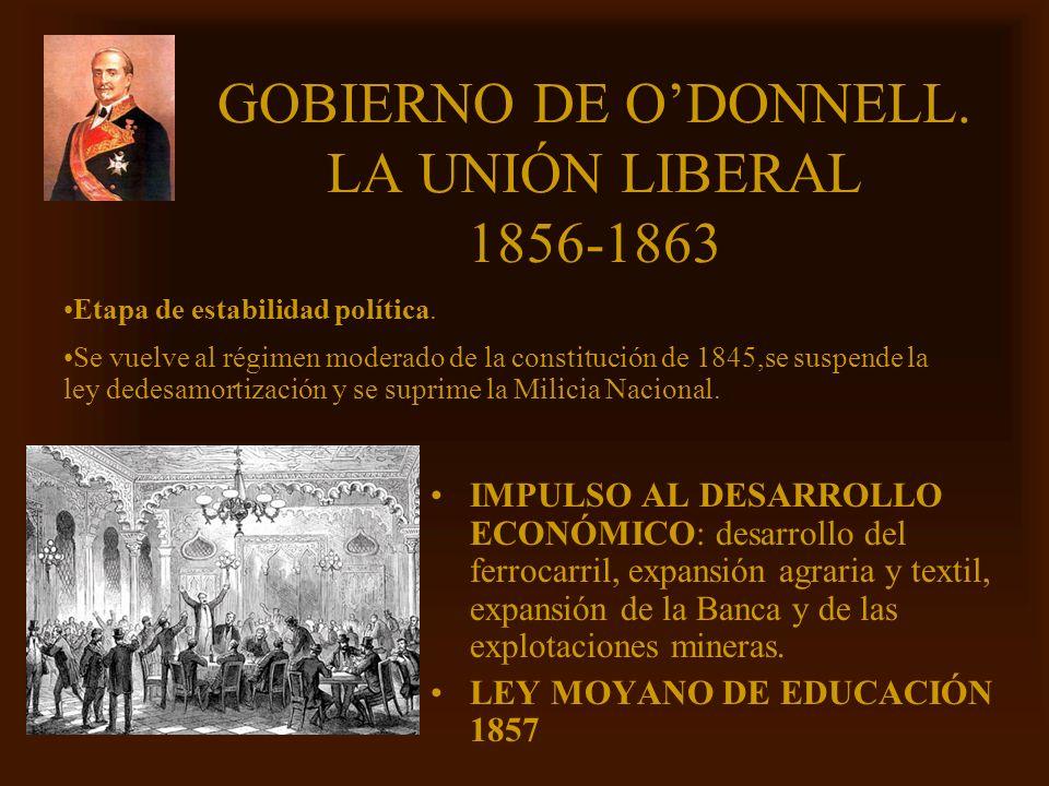 GOBIERNO DE O'DONNELL. LA UNIÓN LIBERAL 1856-1863