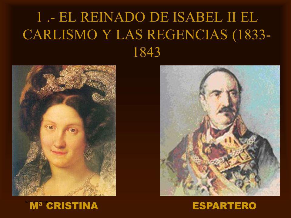 1 .- EL REINADO DE ISABEL II EL CARLISMO Y LAS REGENCIAS (1833-1843