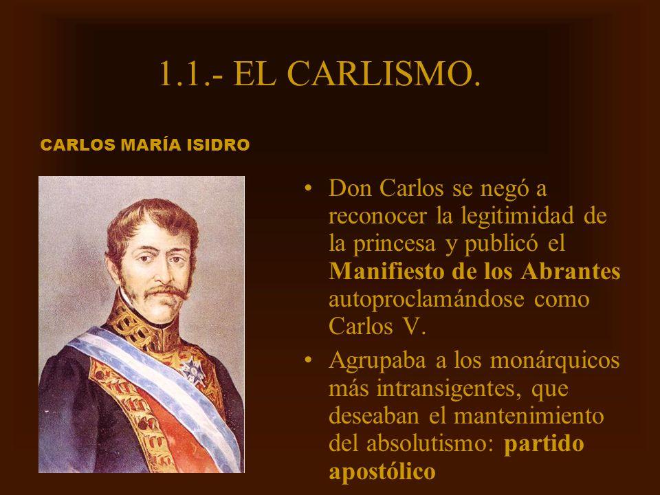 1.1.- EL CARLISMO. CARLOS MARÍA ISIDRO.