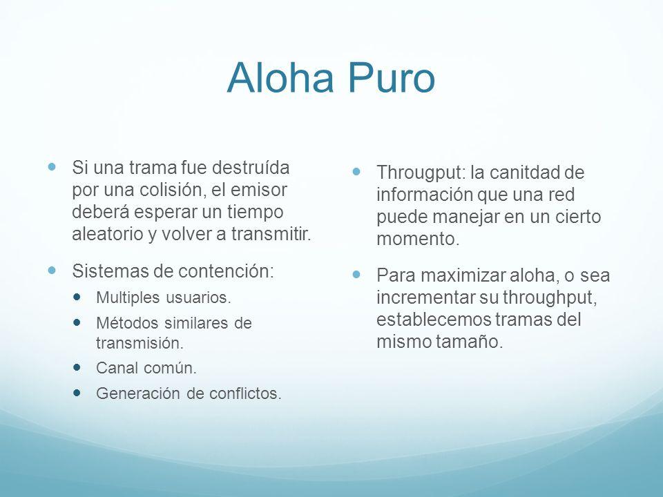 Aloha Puro Si una trama fue destruída por una colisión, el emisor deberá esperar un tiempo aleatorio y volver a transmitir.