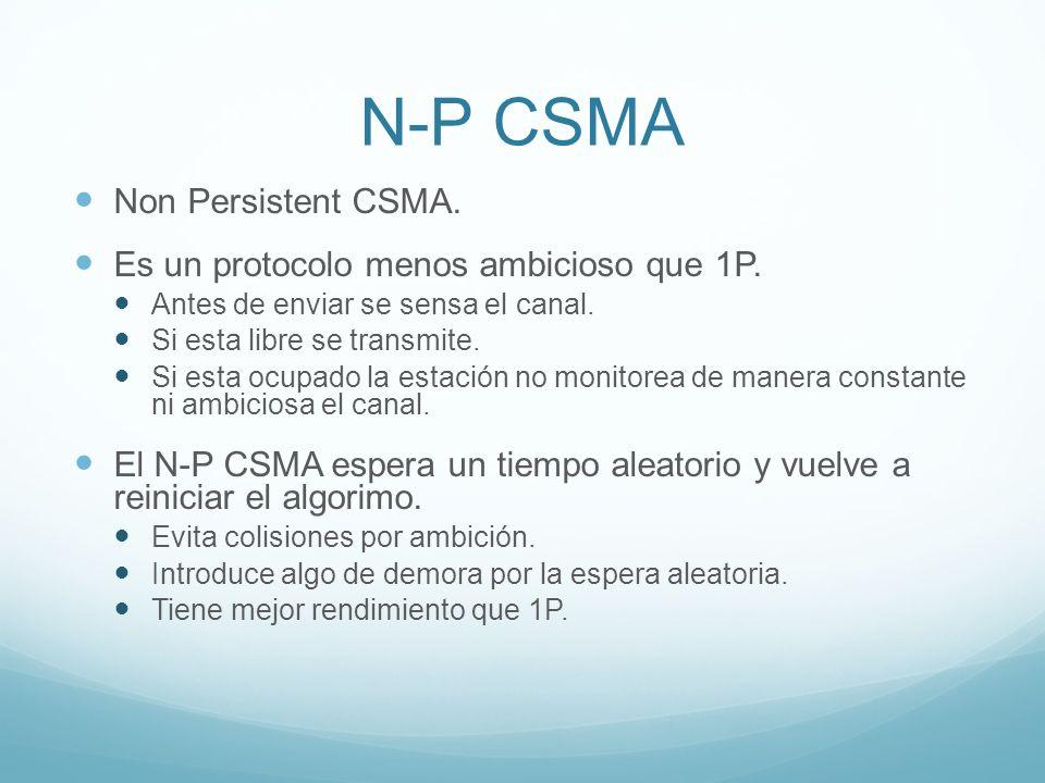 N-P CSMA Non Persistent CSMA. Es un protocolo menos ambicioso que 1P.