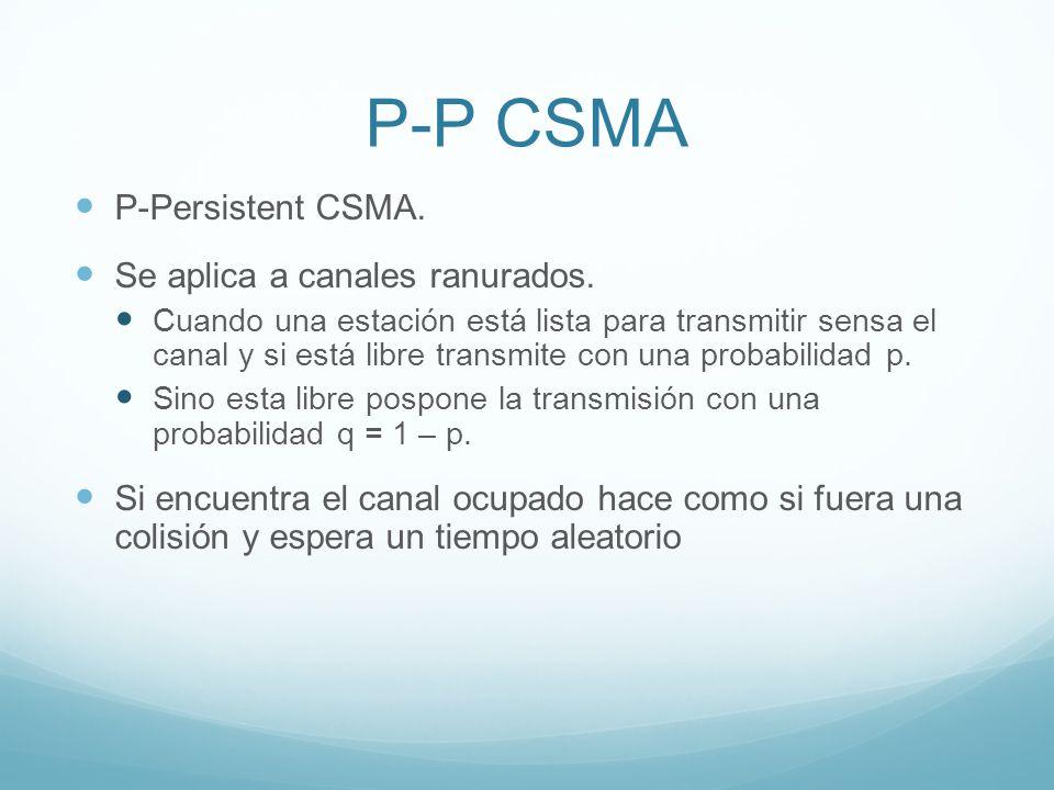 P-P CSMA P-Persistent CSMA. Se aplica a canales ranurados.
