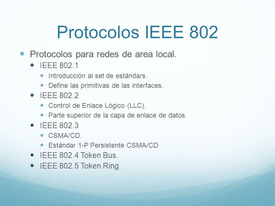 Protocolos IEEE 802 Protocolos para redes de area local. IEEE 802.1