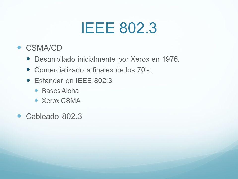 IEEE 802.3 CSMA/CD. Desarrollado inicialmente por Xerox en 1976. Comercializado a finales de los 70's.