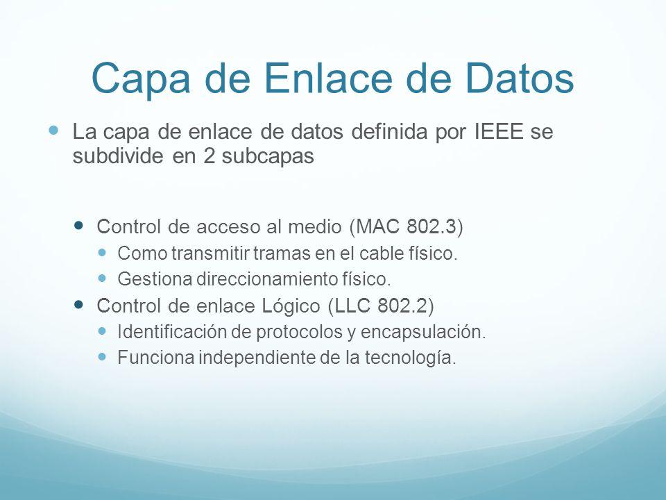 Capa de Enlace de Datos La capa de enlace de datos definida por IEEE se subdivide en 2 subcapas. Control de acceso al medio (MAC 802.3)