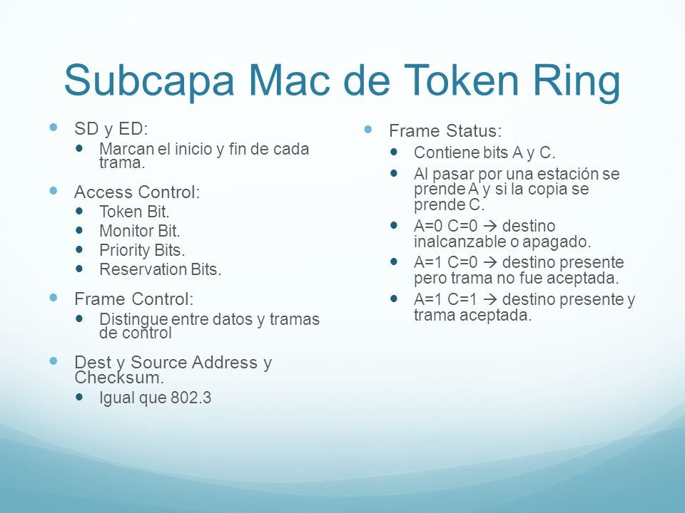 Subcapa Mac de Token Ring
