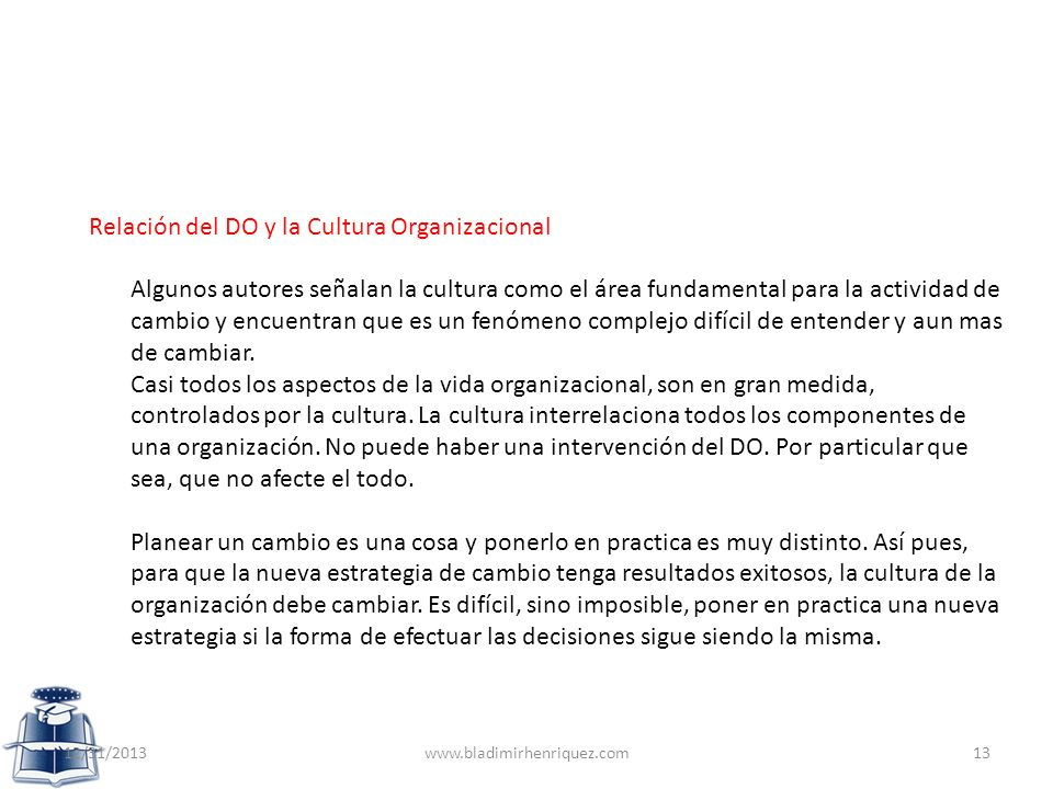 Relación del DO y la Cultura Organizacional