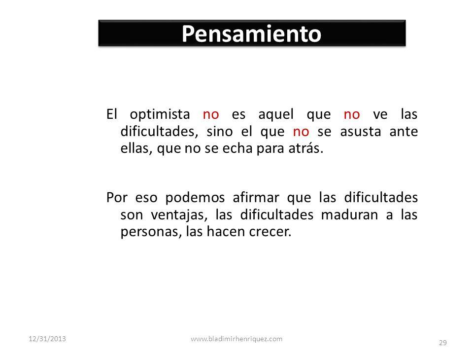 Pensamiento El optimista no es aquel que no ve las dificultades, sino el que no se asusta ante ellas, que no se echa para atrás.