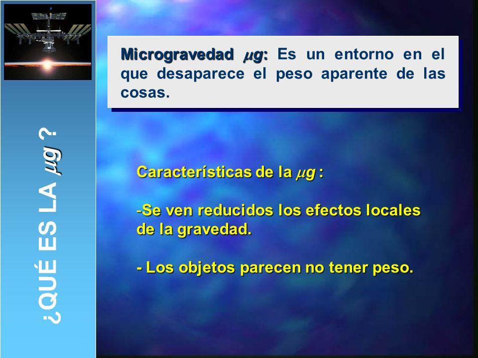 Microgravedad mg: Es un entorno en el que desaparece el peso aparente de las cosas.