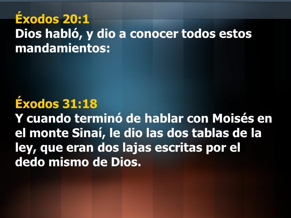Éxodos 20:1 Dios habló, y dio a conocer todos estos mandamientos: