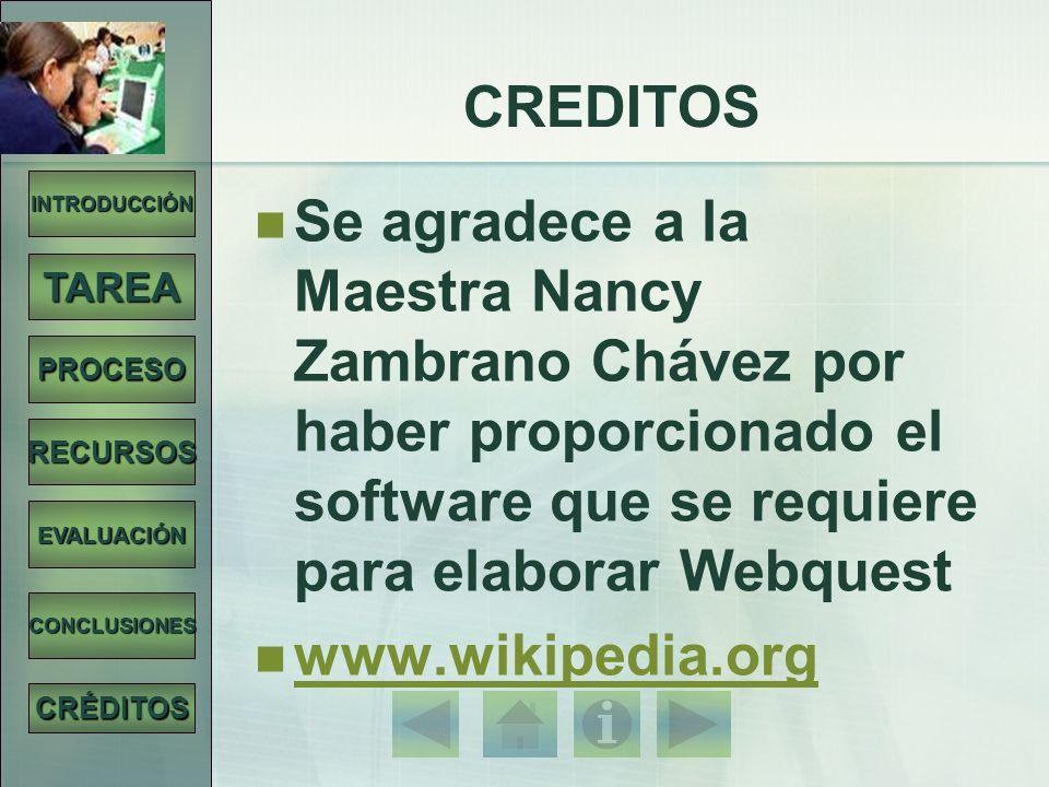 CREDITOS INTRODUCCIÓN. Se agradece a la Maestra Nancy Zambrano Chávez por haber proporcionado el software que se requiere para elaborar Webquest.