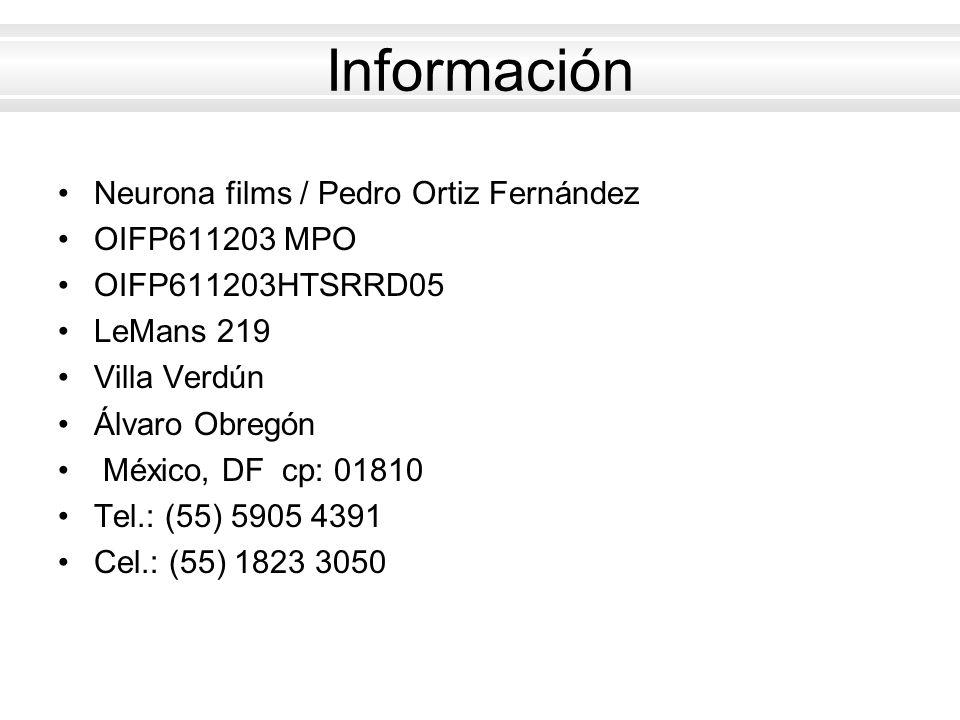 Información Neurona films / Pedro Ortiz Fernández OIFP611203 MPO