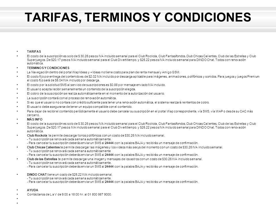 TARIFAS, TERMINOS Y CONDICIONES