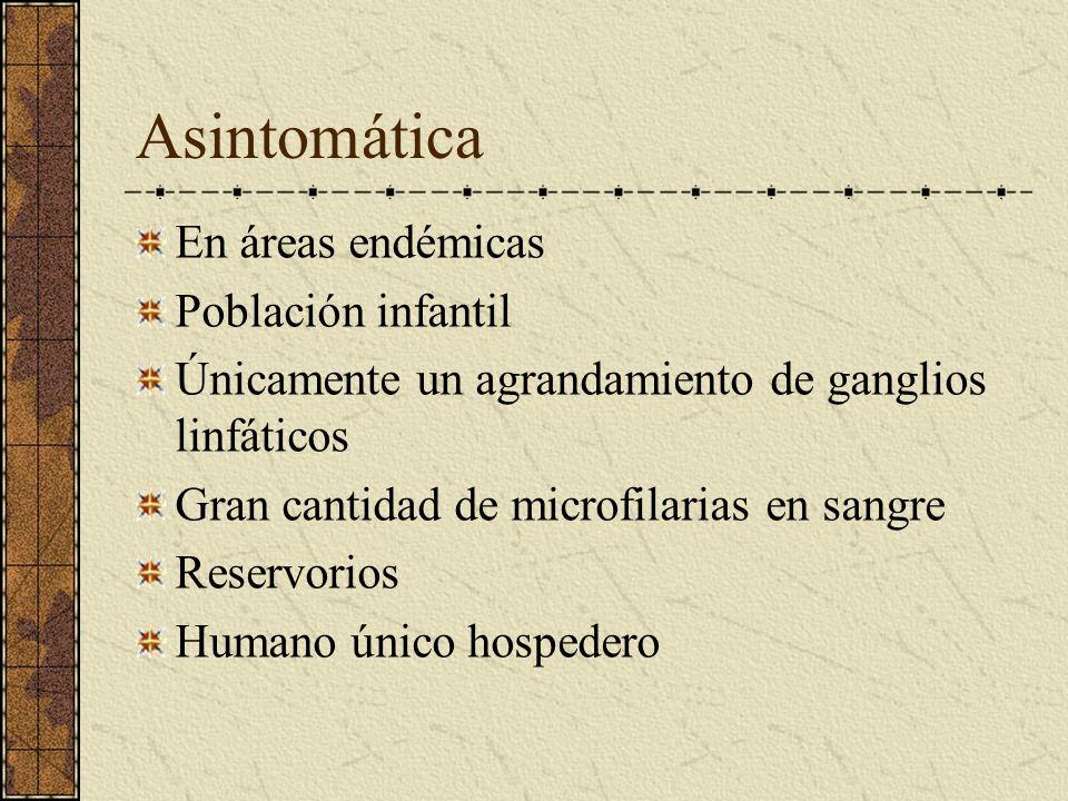 Asintomática En áreas endémicas Población infantil