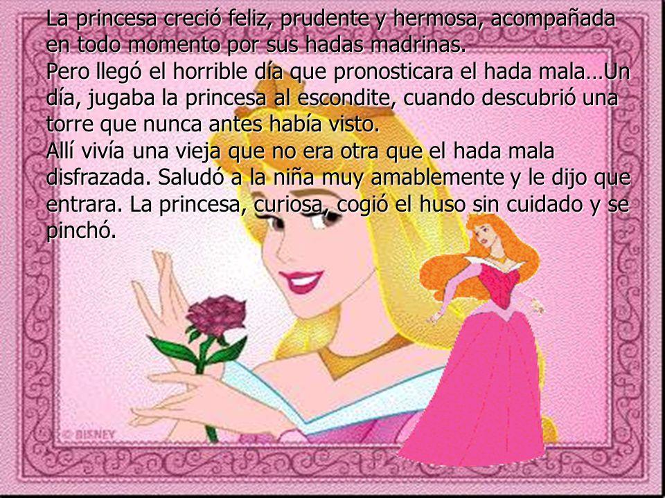 La princesa creció feliz, prudente y hermosa, acompañada en todo momento por sus hadas madrinas.