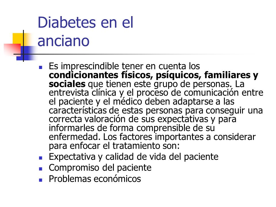 Diabetes en el anciano