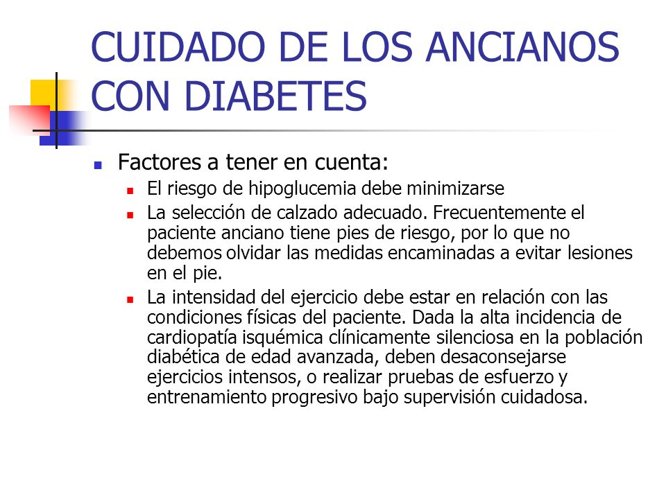 CUIDADO DE LOS ANCIANOS CON DIABETES