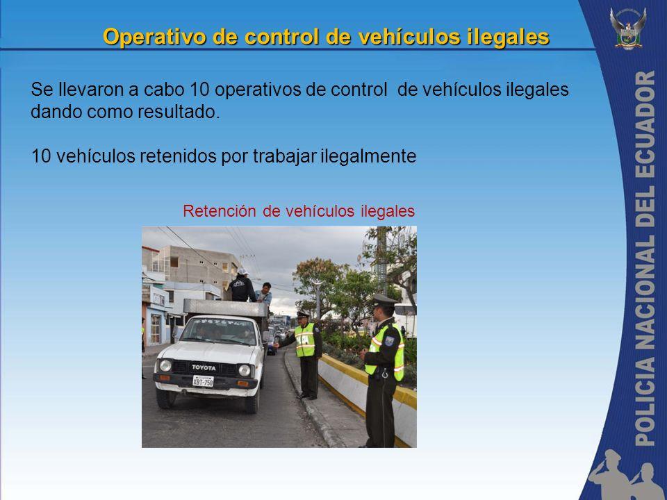 Operativo de control de vehículos ilegales