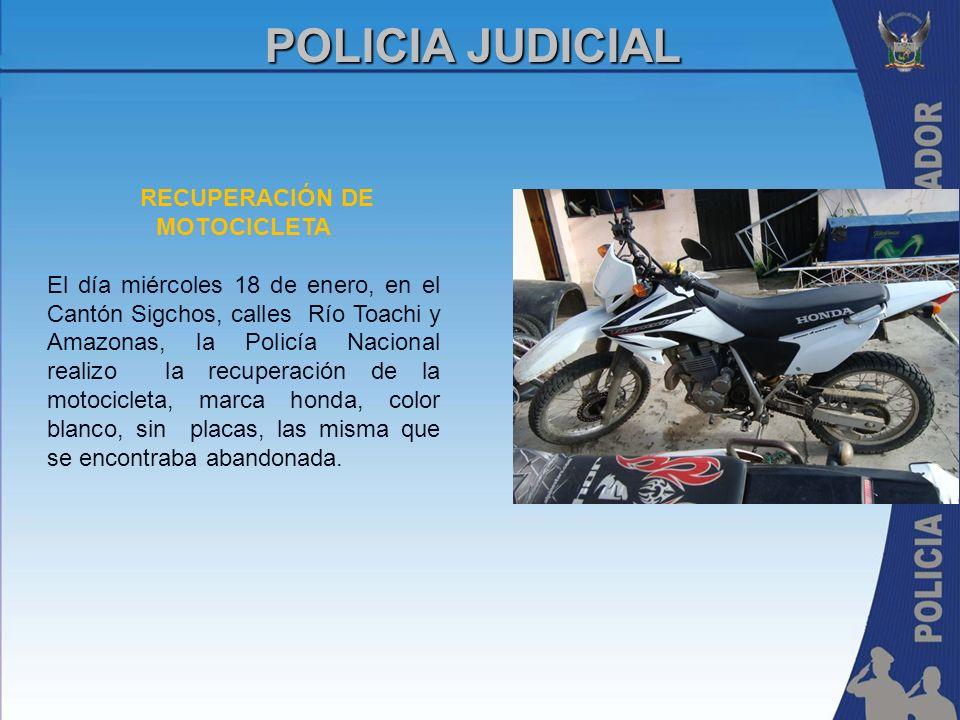 RECUPERACIÓN DE MOTOCICLETA