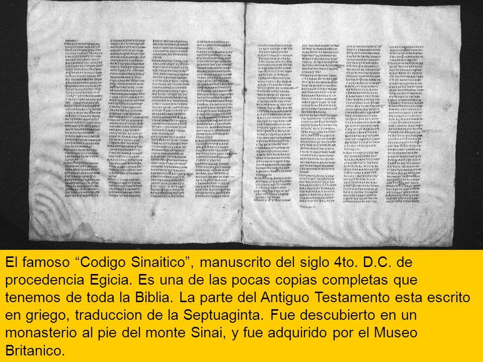 El famoso Codigo Sinaitico , manuscrito del siglo 4to. D. C