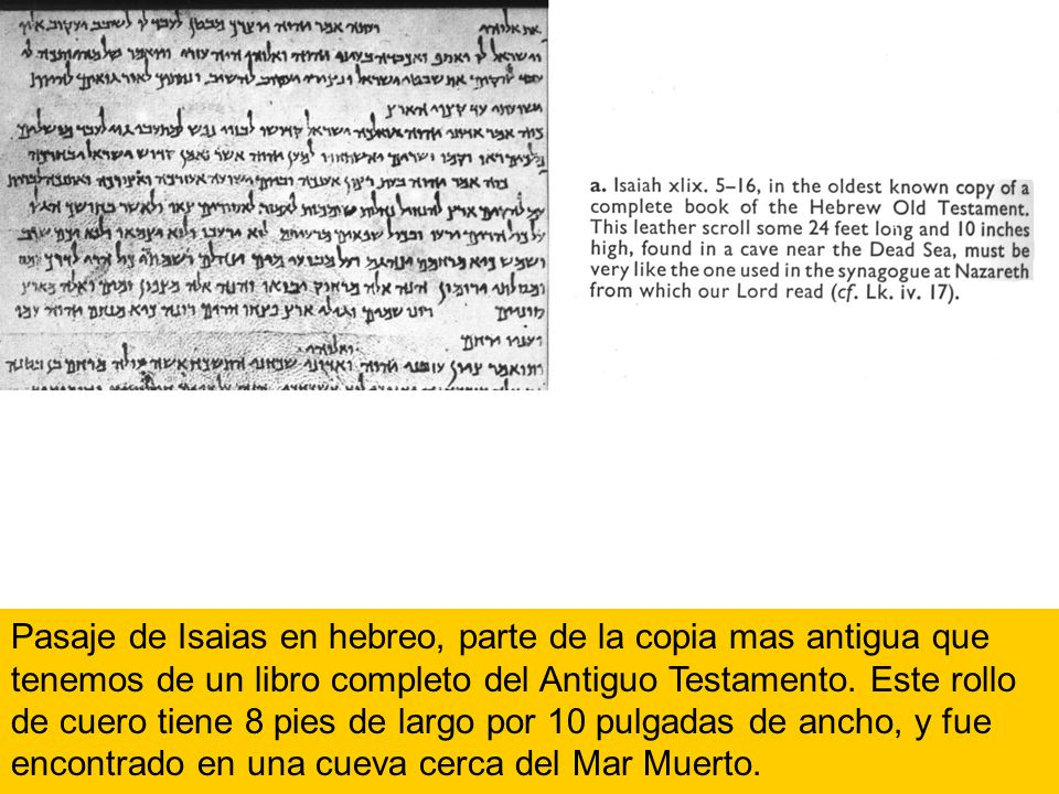 Pasaje de Isaias en hebreo, parte de la copia mas antigua que tenemos de un libro completo del Antiguo Testamento.