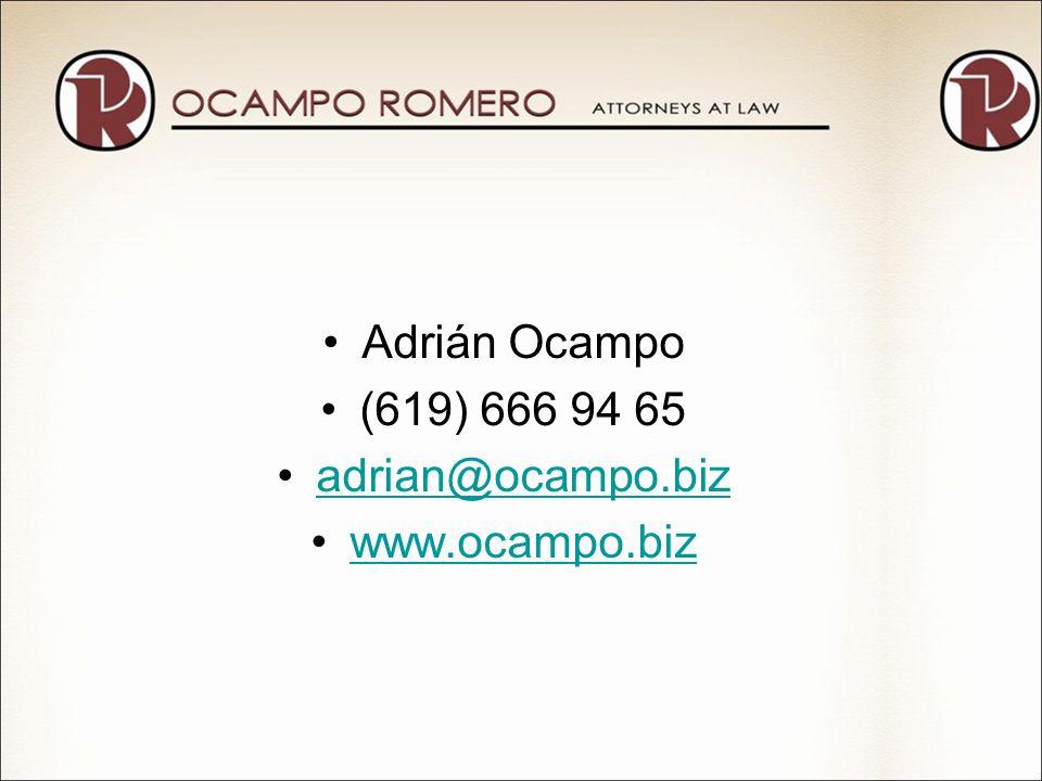 Adrián Ocampo (619) 666 94 65 adrian@ocampo.biz www.ocampo.biz