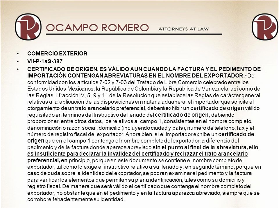 COMERCIO EXTERIOR VII-P-1aS-387.