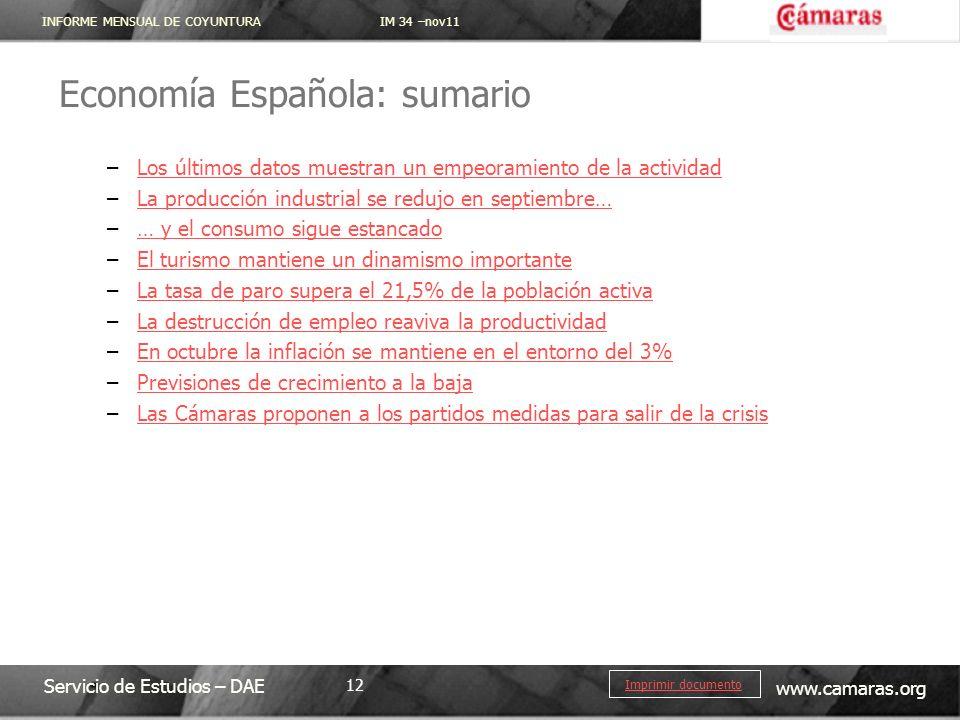 Economía Española: sumario