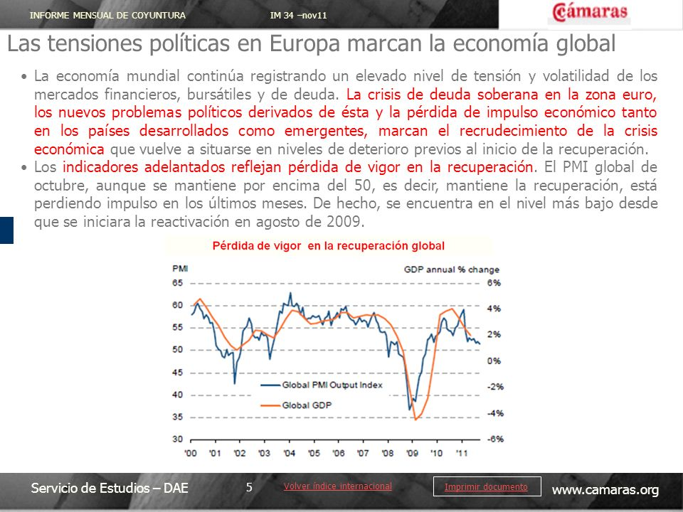 Las tensiones políticas en Europa marcan la economía global