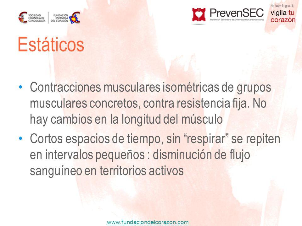 EstáticosContracciones musculares isométricas de grupos musculares concretos, contra resistencia fija. No hay cambios en la longitud del músculo.