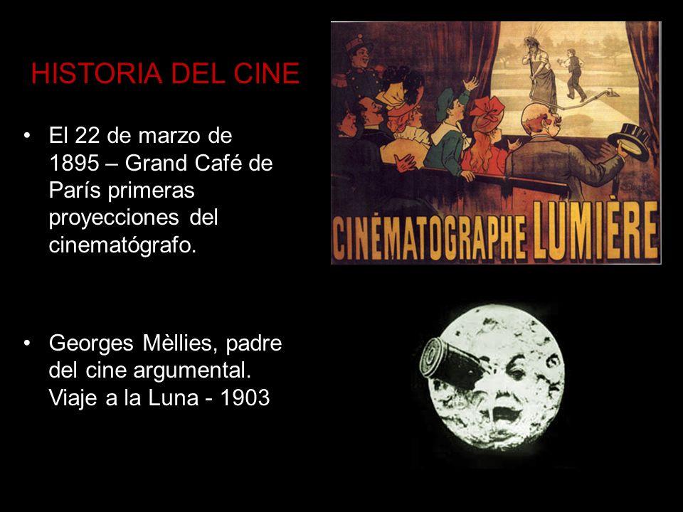 HISTORIA DEL CINEEl 22 de marzo de 1895 – Grand Café de París primeras proyecciones del cinematógrafo.