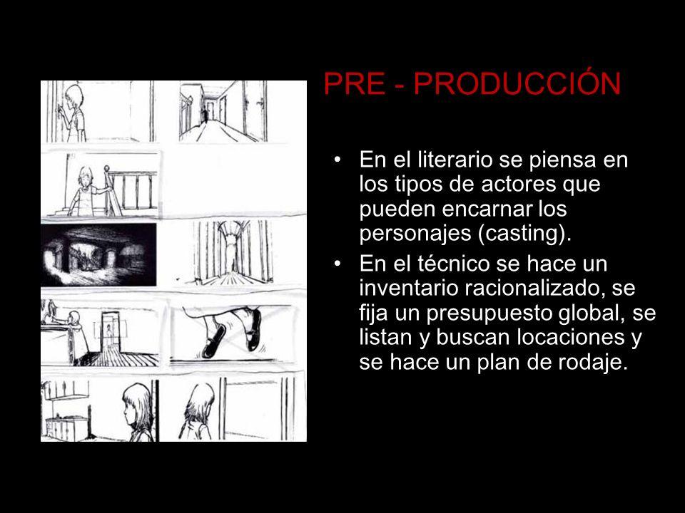 PRE - PRODUCCIÓNEn el literario se piensa en los tipos de actores que pueden encarnar los personajes (casting).