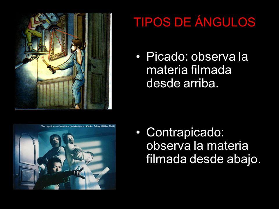TIPOS DE ÁNGULOS Picado: observa la materia filmada desde arriba.