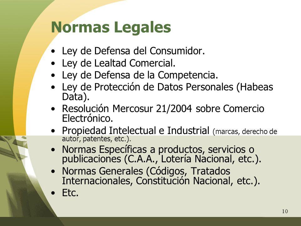 Normas Legales Ley de Defensa del Consumidor.