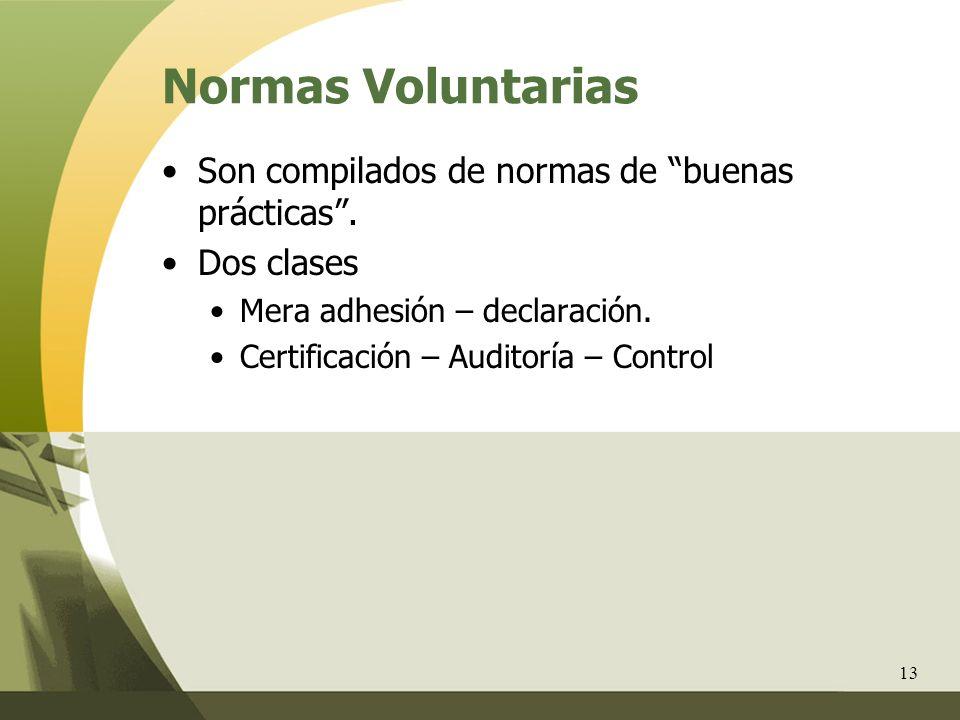 Normas Voluntarias Son compilados de normas de buenas prácticas .
