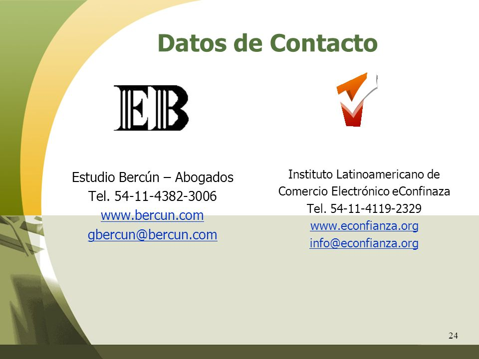 Datos de Contacto Estudio Bercún – Abogados Tel. 54-11-4382-3006