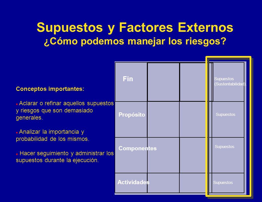 Supuestos y Factores Externos ¿Cómo podemos manejar los riesgos