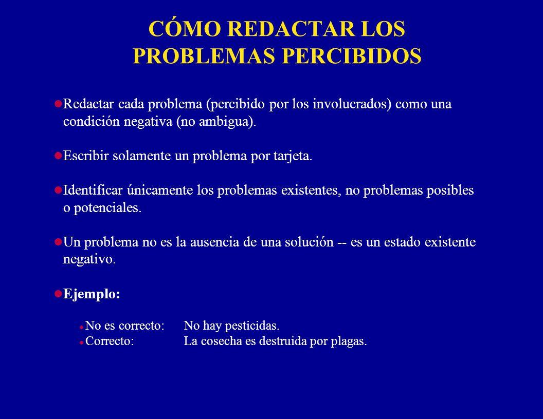 CÓMO REDACTAR LOS PROBLEMAS PERCIBIDOS