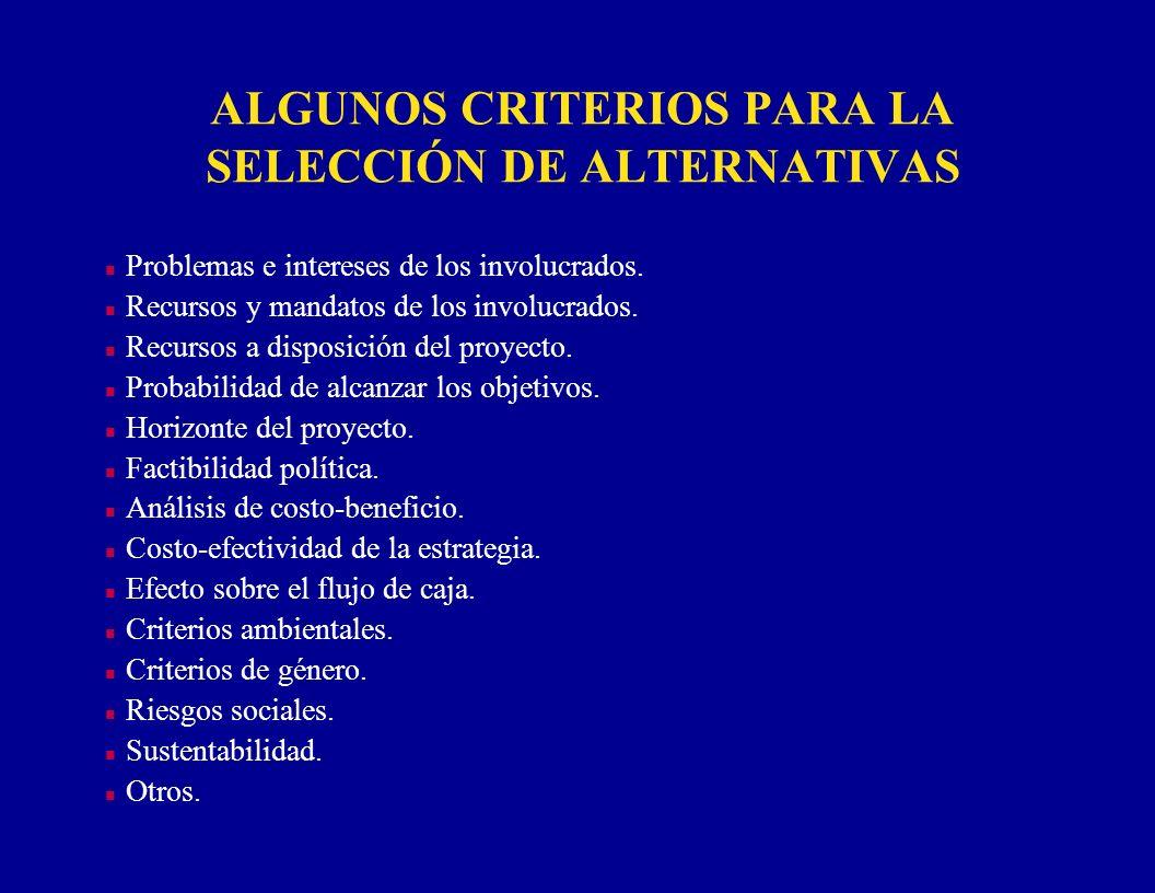 ALGUNOS CRITERIOS PARA LA SELECCIÓN DE ALTERNATIVAS