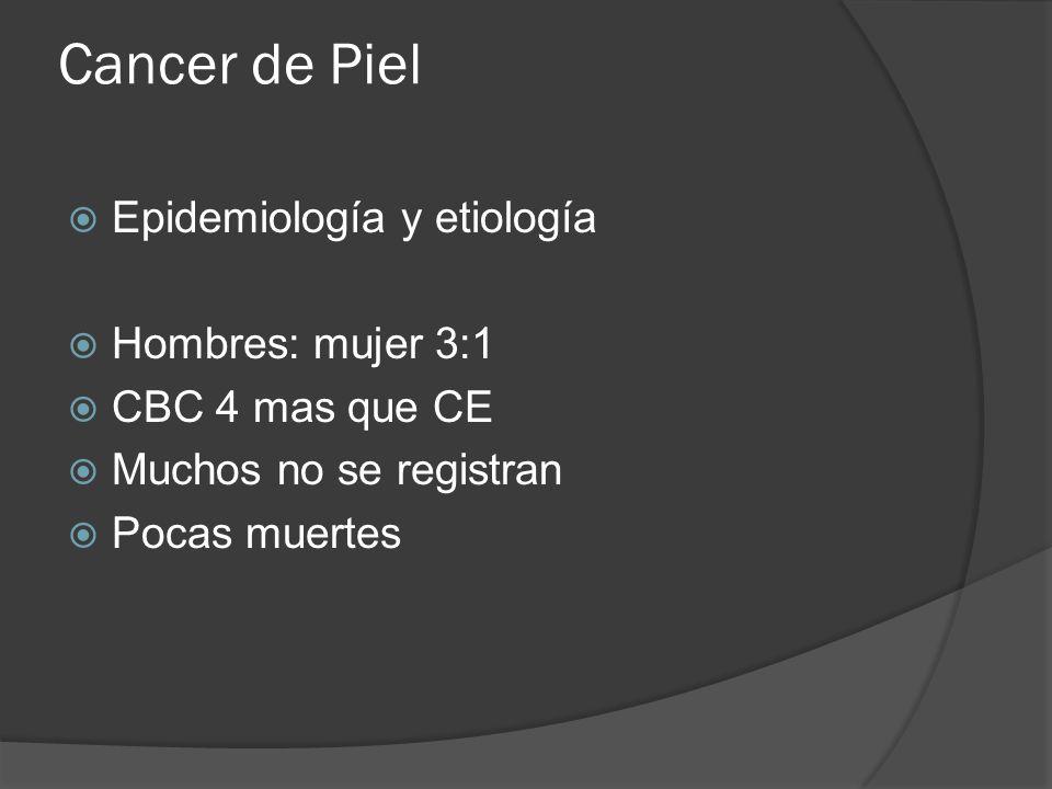 Cancer de Piel Epidemiología y etiología Hombres: mujer 3:1