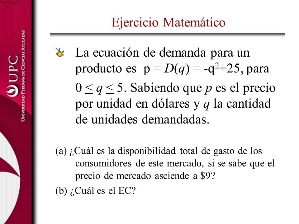 La ecuación de demanda para un producto es p = D(q) = -q2+25, para