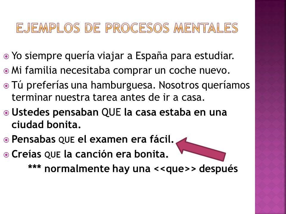 Ejemplos de procesos mentales
