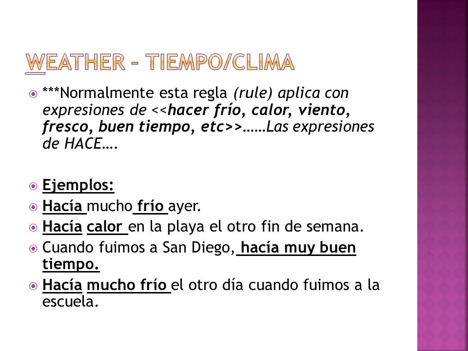 Weather – Tiempo/clima